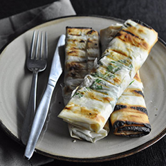 Pear, blue cheese and pinenut filo parcels