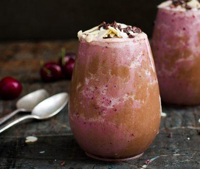 Recipe: Raspberry, chocolate & almond vegan frappe