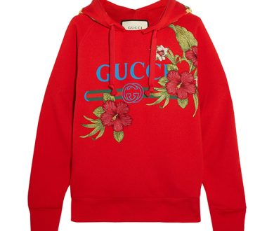Embroidered printed cotton-jersey hoodie