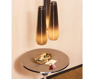 Glassdrop Lamp, Decofutura Table and Wunderkammer ornamental piece by Diesel Living