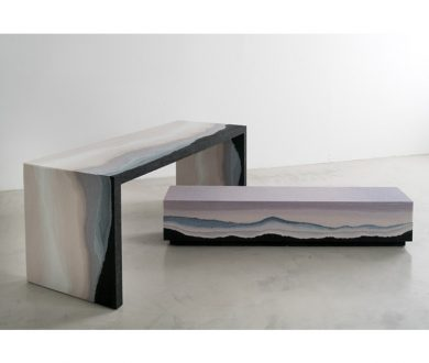 Table and bench from the Escape series by Fernando Mastrangelo
