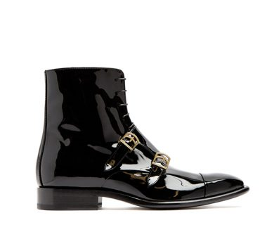 Buckles: Jil Sander Monk-strap patent leather ankle boot