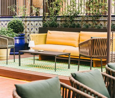 The outdoor terrace at this luxury boutique is inspiring our own homes