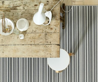 A striped rug is the easiest way to inject a little personality into your home