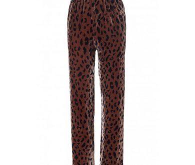 Tibi Cheetah on Silk Velvet Track Pants
