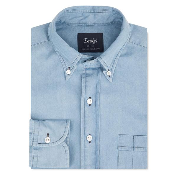 Drake's washed blue denim shirt