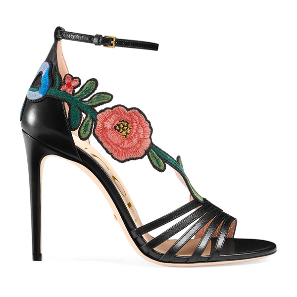 Gucci embroidered leather sandal