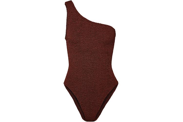 Hunza G Nancy one-shoulder seersucker swimsuit