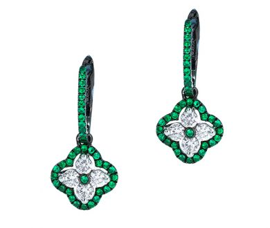 Emerald Clover drop earrings