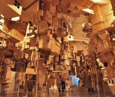 Auckland Art Gallery's new 'cardboard city' illustrates the concept of displacement