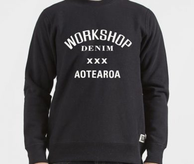 Workshop Denim crewneck sweatshirt (Aotearoa patch)