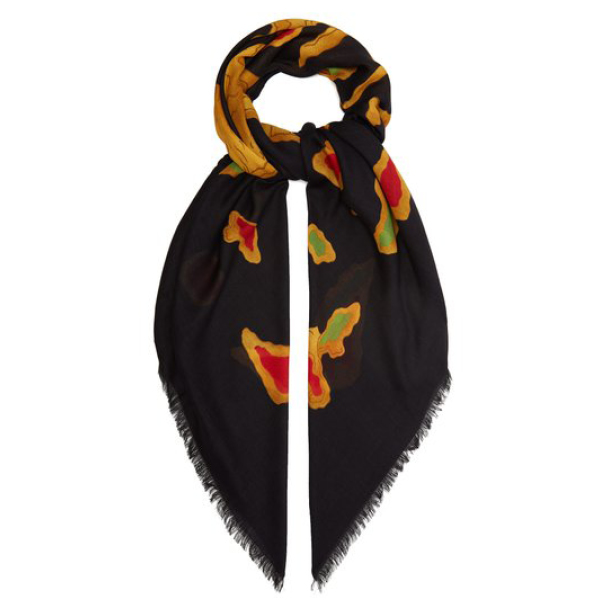 Valentino dragon print modal and cashmere-blend scarf