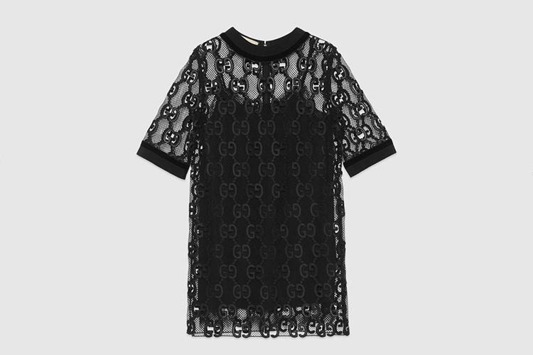 GG leather macramé dress
