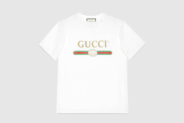 Oversize washed T-shirt with Gucci logo
