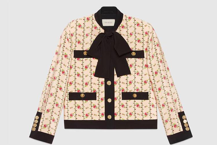 Rose print silk marocain jacket