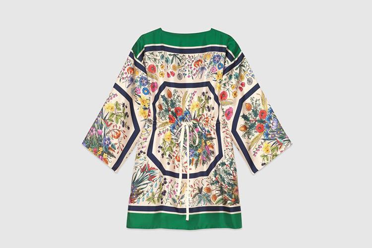 Silk kaftan with floral print