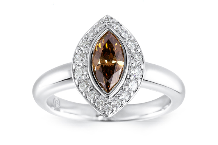 Cognac marquise ring