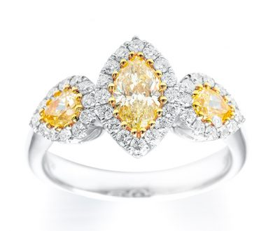 Marquise and pears fancy yellow ring
