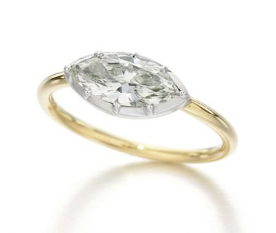 Button back ring with marquise diamond by Jessica McCormack