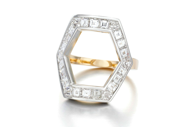 Hexagonal diamond ring by Jessica McCormack
