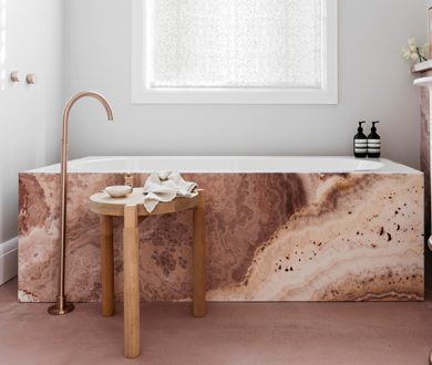 A stone bathtub is the stoic centrepiece your bathroom needs