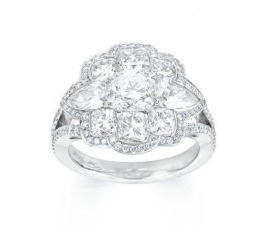 White diamond peony ring
