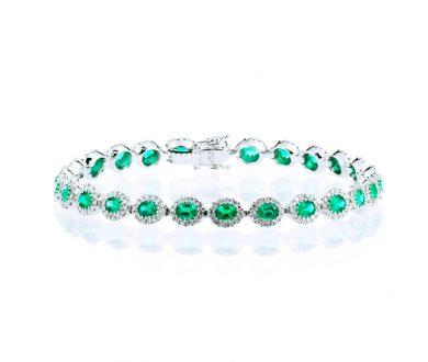 Oval emerald halo bracelet