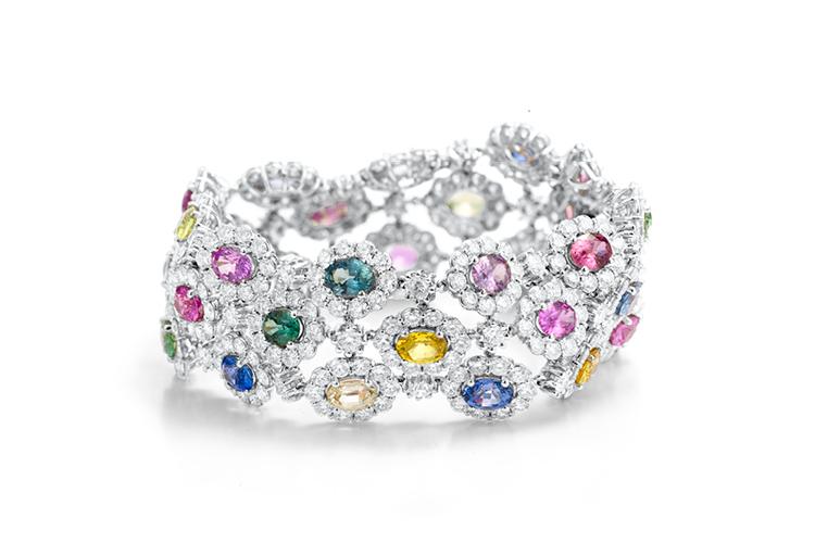 Triple row multi coloured sapphire bracelet