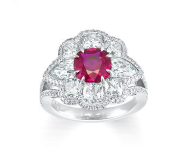 Ruby and diamond peony ring