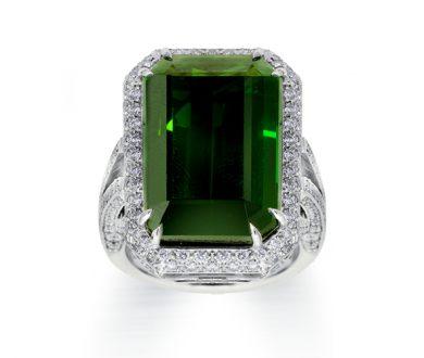 Large green tourmaline and diamond rin
