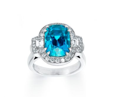Blue zircon and trapezoids ring
