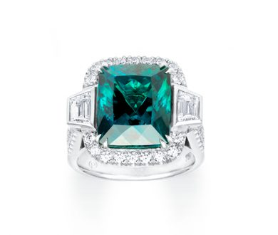 Tourmaline with tapered emerald sides ring