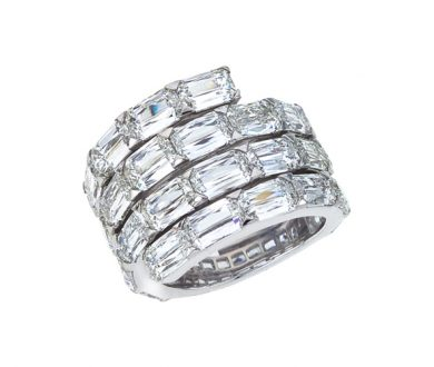 ASHOKA® three row diamond ring