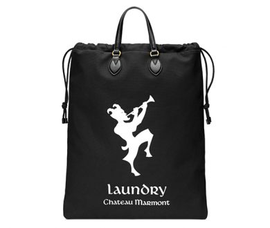 Drawstring tote with Chateau Marmont print