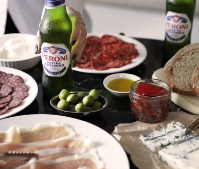 A simple platter and some crisp bottles of Peroni are the only things you need for an afternoon aperitivo