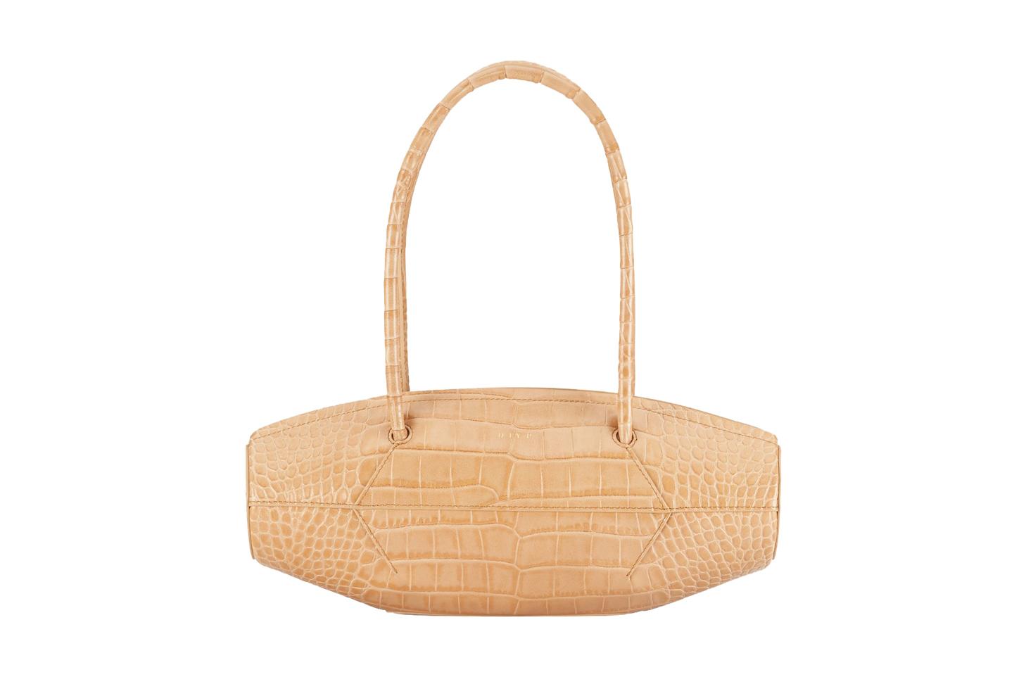 Rolla Midi Croc Camel Bag