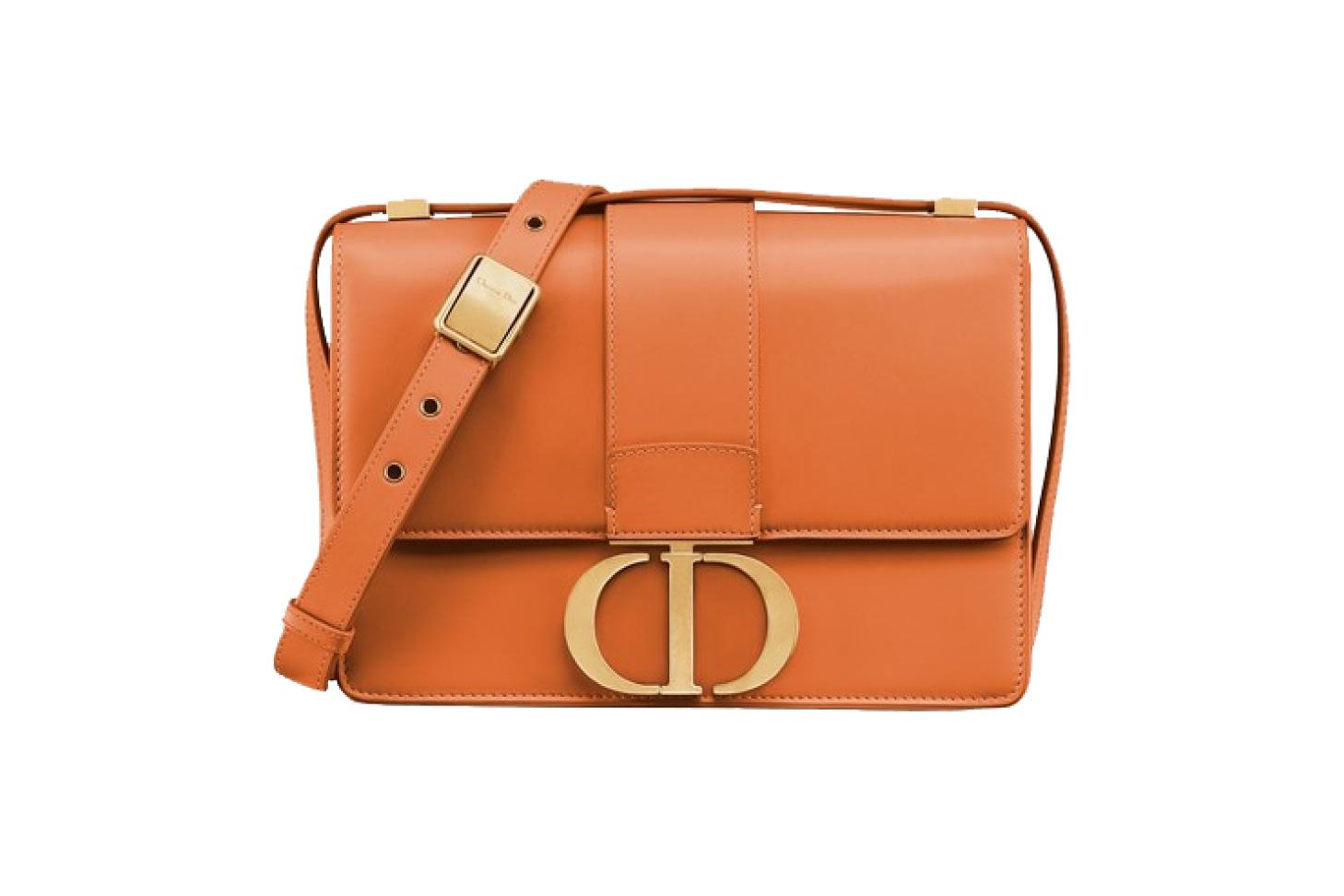 Orange 30 Montaigne Smooth Lambskin Flap Bag