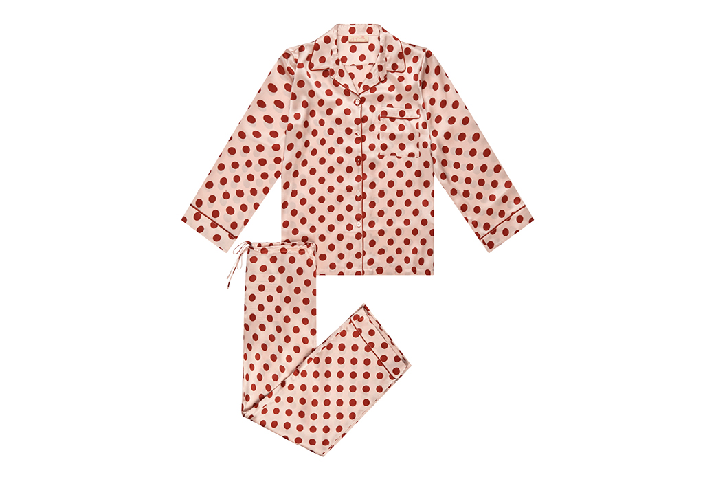 Papinelle X Karen Walker Silk Spot Full Length PJ Set