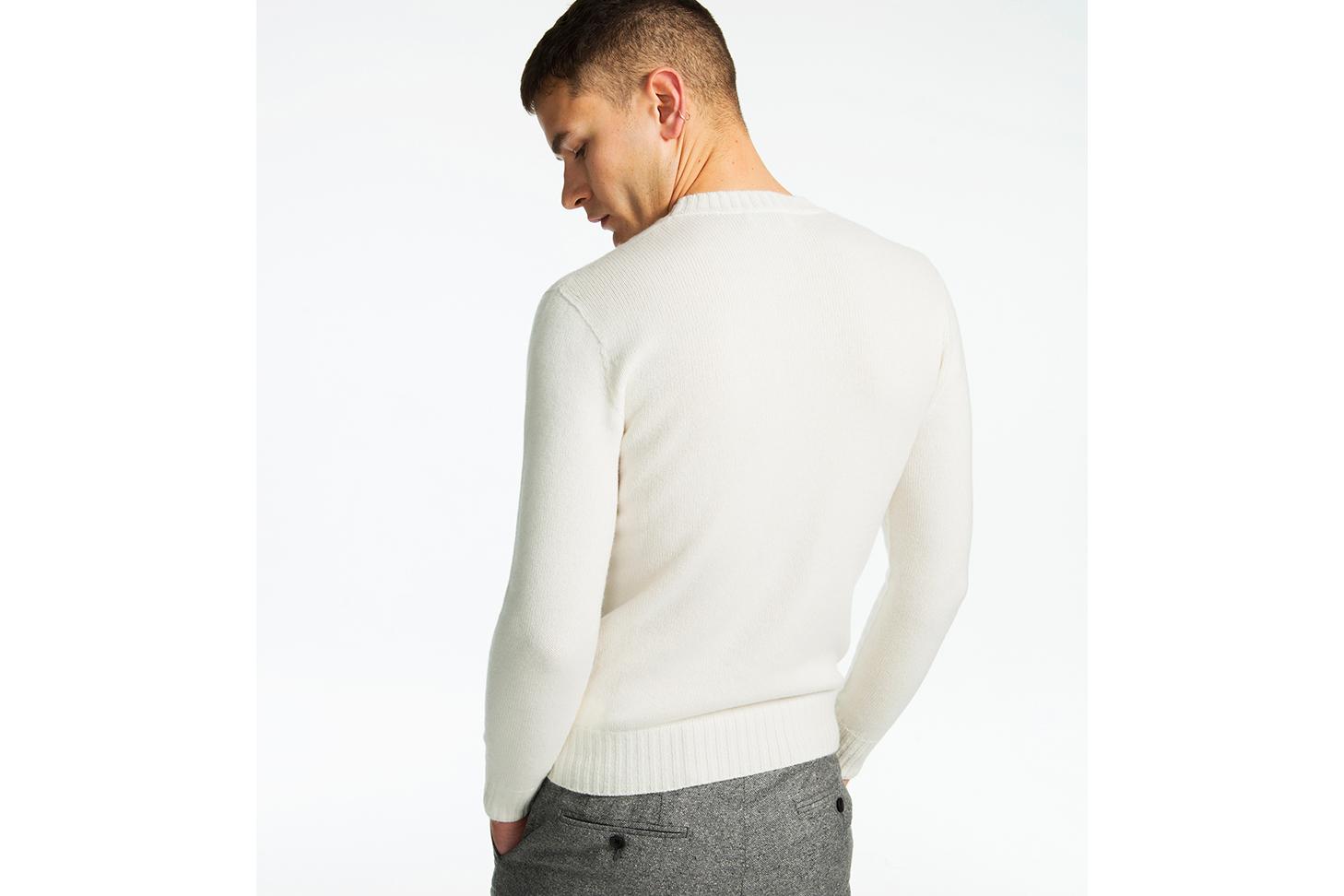 Palazzo Crew Neck Sweater Arctic White