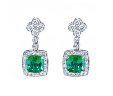 Tourmaline and Diamond Earrings