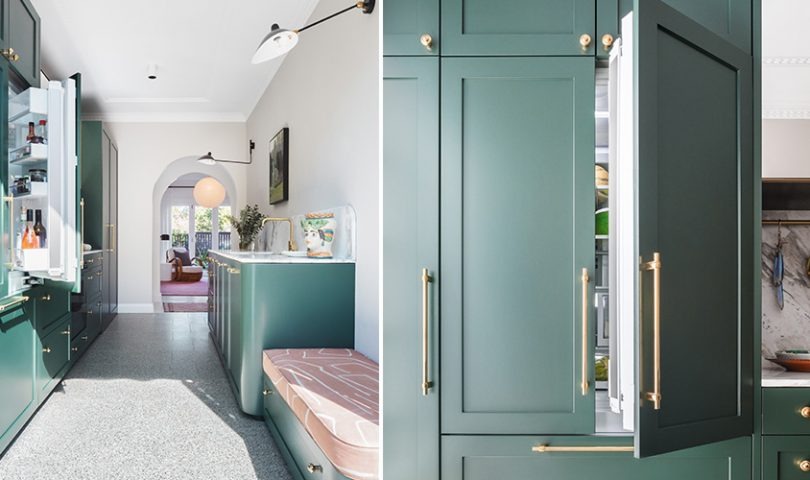 A unique kitchen sits at the heart of this newly-renovated apartment