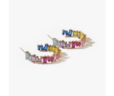 Adornmonde Geraldo Crystal Hoop Earrings
