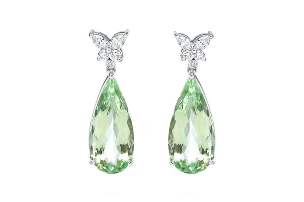 Fragile bounty green beryl earrings