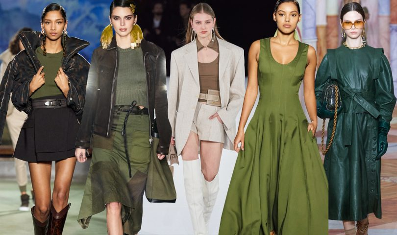 Shades of olive, emerald and khaki are encouraging us to go green this season