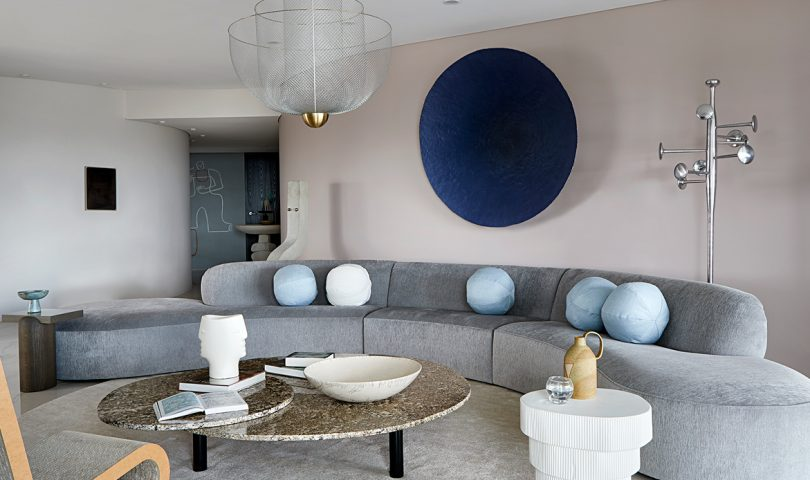 Classic details and an artistic approach offer cocoon comfort in this sky high apartment