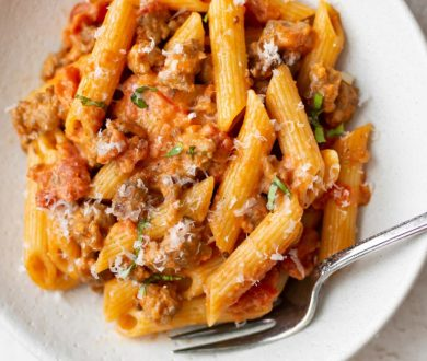 This Spicy Sausage Rigatoni recipe from NSP is the perfect family feast