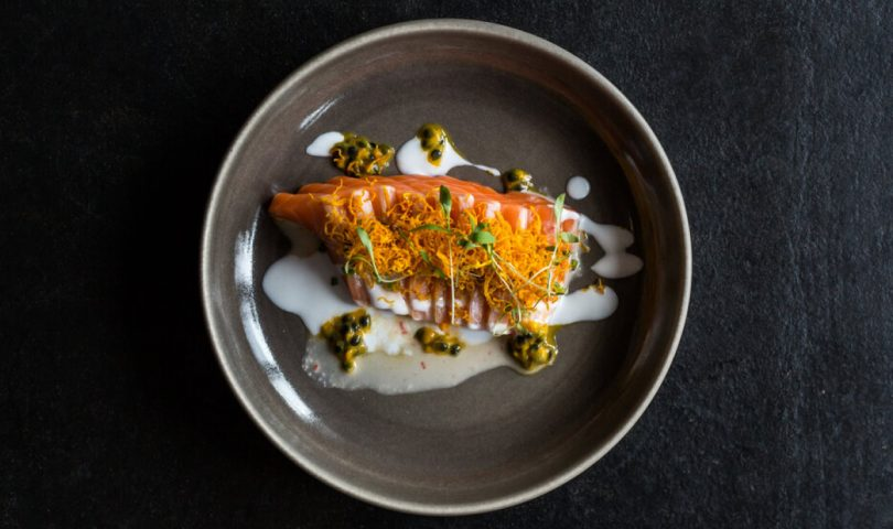 Get your seafood fix with this Salmon Tiradito recipe from Azabu