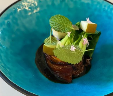 Sid Sahrawat's recipe for Pork Belly with Asian Greens and Pear