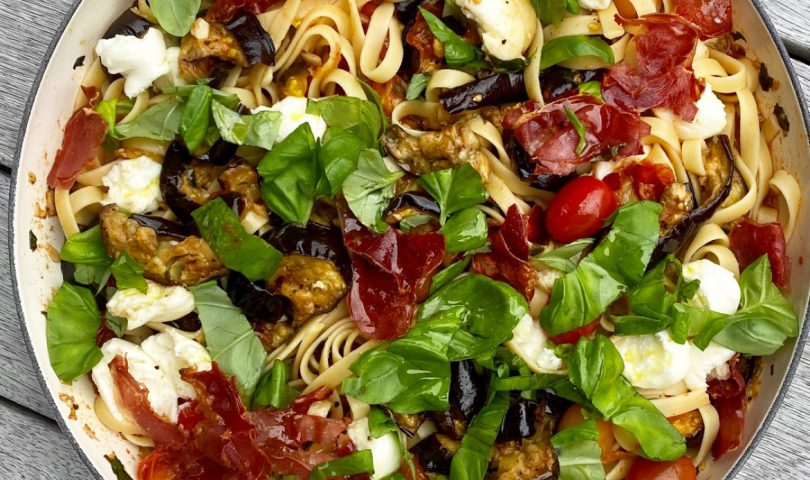 This prosciutto and eggplant pasta recipe makes for a simply delicious supper