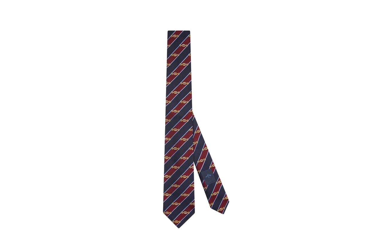 Horsebit jacquard silk tie